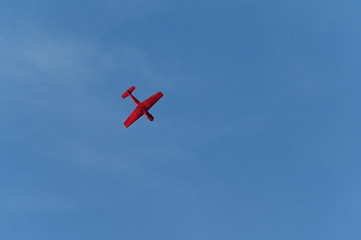 Red Aerobatic planes flying in the air