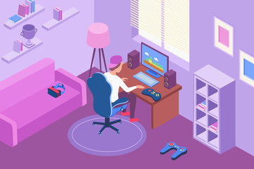 Computer Gamer Isometric Illustration