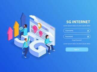 5g Internet Isometric Background