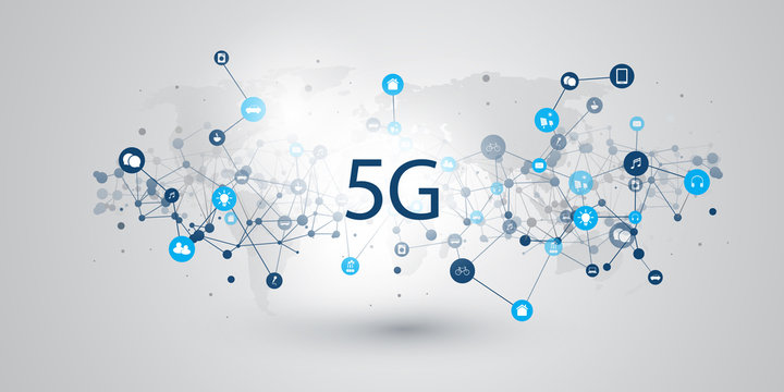 5G Network Label with Icons Representing Various Kinds of Devices and Services - High Speed, Broadband Mobile Telecommunication and Wireless IoT Systems Design Concept