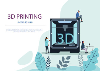Industrial 3D printer prints a house concept. File contains transparent objects. 3d Printing or Additive Manufacturing Technology Website Landing Page. Developer Engineer Stand at 3d Printer. Vector