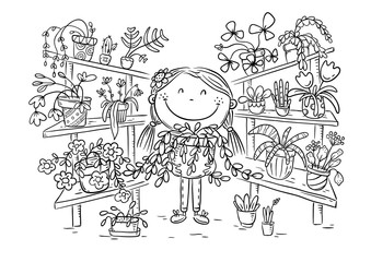 Wall Mural - Girl in the greenhouse with her plant collection