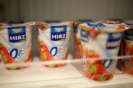 Hirz yogurts by Nestle are pictured in the supermarket of Nestle headquarters in Vevey