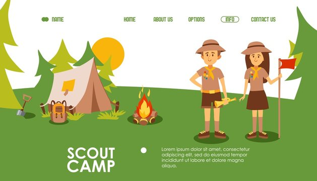 Scout camp website, vector illustration. Landing page template for summer camping, outdoor scene with tent, campfire and scout leaders. Friendly man and woman cartoon character. Fun activity in nature