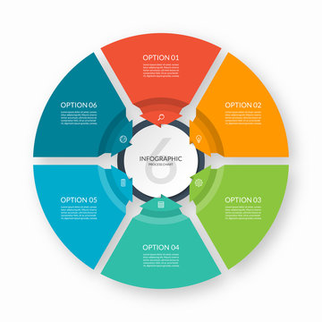 Infographic process chart. Circular design template with 6 arrows pointing to the center. Cycle diagram that can be used for report, business infographics, data visualization and presentation.
