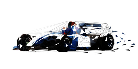 Formula racing car, low polygonal isolated vector illustration
