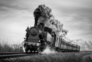 Steam train runs on the tracks on a cloudy day. Black and white photography. Fotomurales