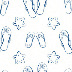 Flip flop shoe seamless vector pattern background. Hand drawn outline style with cute starfish. White and blue colors. Summer beach concept.