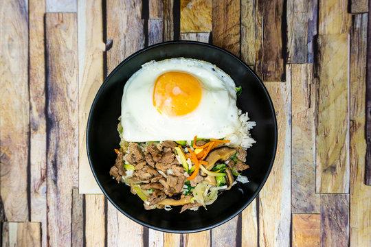 Handmade Korean bibimbap ready to eat