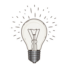 Hand drawn vector illustration with Light bulb.