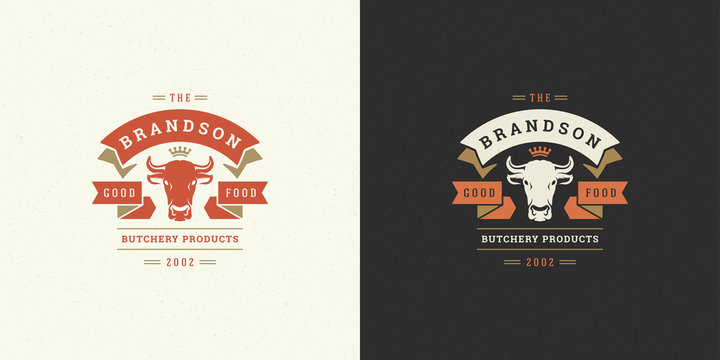 Butcher shop logo vector illustration cow head silhouette good for farm or restaurant badge