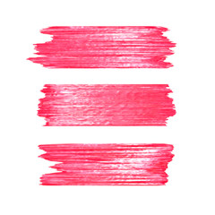 Red glitter brushstrokes set isolated at white background. Shiny texture paint stain illustration. Collection of high detail hand drawn brush stroke vector design elements