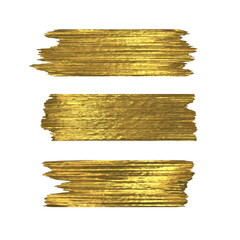 Golden glitter brushstrokes set isolated at white background. Shiny gold texture paint stain illustration. Collection of high detail hand drawn brush stroke vector design elements