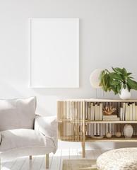 Mock up frame in home interior background, Scandinavian style, 3d render
