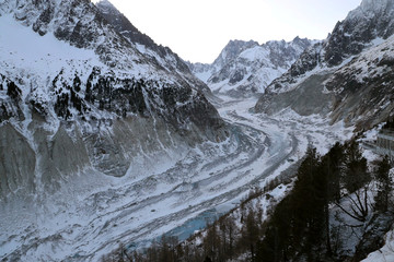 A picture taken from the Montenvers railway station near Chamonix, at the Mont Blanc mountain range in the French Alps