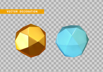 Fotomurales - Gold and blue Geometric figure icosahedron polyhedron with 20 faces. Isolated Realistic object in 3d. Vector illustration