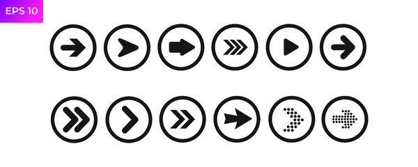 Next Arrow icon template color editable. Next Arrow symbol logo vector sign isolated on white background illustration for graphic and web design.