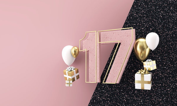 Happy 17th birthday party celebration. Modern marble composition 3D Render
