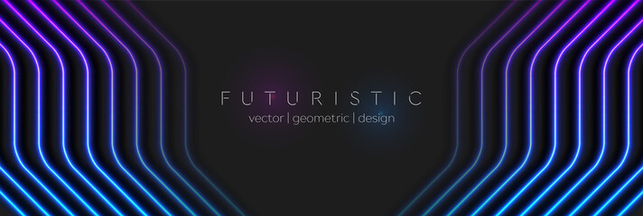 Fotobehang - Abstract black technology background with neon glowing light lines. Futuristic geometry vector banner design