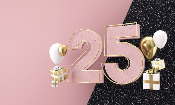Happy 25th birthday party celebration. Modern marble composition 3D Render
