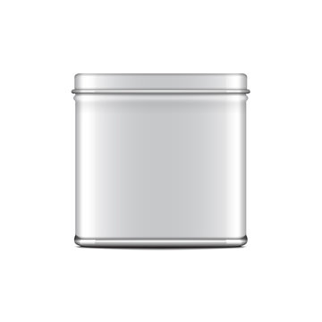 Rectangular white gloss tin can. Container for coffee, tea, sugar, sweet, spice. Vector realistic illustration packaging