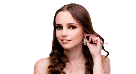 Wall Mural - Young woman in beauty concept on white isolated background