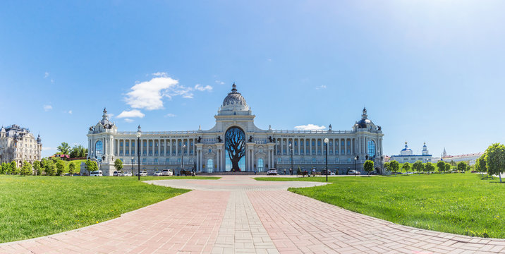 Panoramic view of the Palace of Agriculture in Kazan in the summer