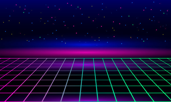 Retro vintage neon grid horizon of the 80s and 90s. Banner for printing night disco parties.