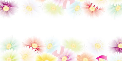 ガーベラの花カラフルなパステルカラーのバナー素材
