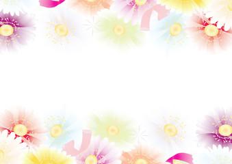ガーベラの花カラフルなパステルカラーの縦長フレーム素材