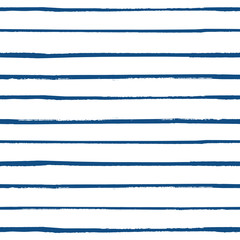 Grunge stripes horizontal seamless vector pattern background in navy blue and white. Hand-drawn style with paint effect. For marine and nautical concept.