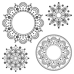 Mandala Australian dot paiting mandala set - vector design, Aboriginal traditional decorative patterns collection, Australian mosaic art