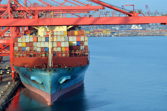 Cargo operation on the container ship in the port of Long Beach, California.