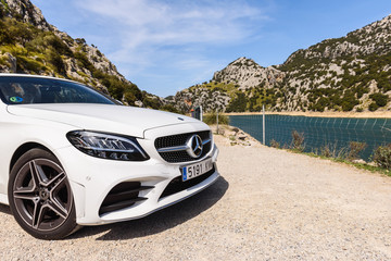 Mallorca, Spain - May 7, 2019: Mercedes Benz car parked in the mountainous part of the island of Majorca