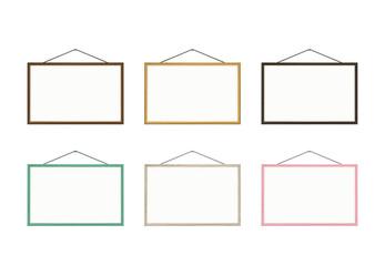 wooden frame set 5 whiteboard. vector ver.
