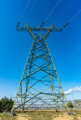 Single electrical tower rising high up