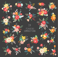 Vector floral set. Colorful pink and purple floral collection with leaves and flowers. Compositions of bouquet.