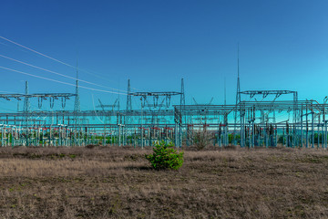 Modern electric power substation in Poland
