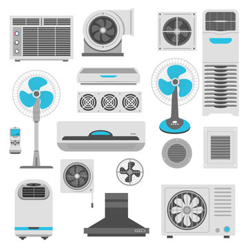 Air conditioner and ventilator units set in white and blue