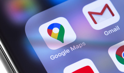 Google Maps icon app on the screen smartphone closeup. Google is the biggest Internet search engine in the world. Moscow, Russia - January 21, 2020