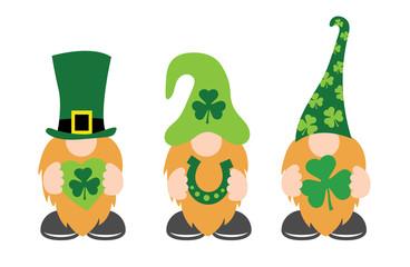 St. Patrick's Day Gnomes with shamrock & horseshoe
