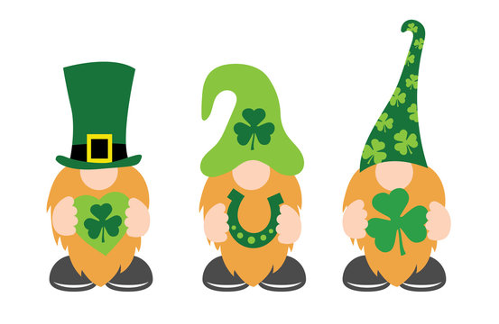 St. Patrick's Day Gnomes with shamrock & horseshoe