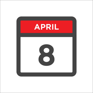 April 8 calendar icon with day of month