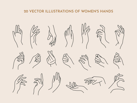 A set of icons women's hands in a trendy minimal linear style. Vector Illustration of female hands with various gestures