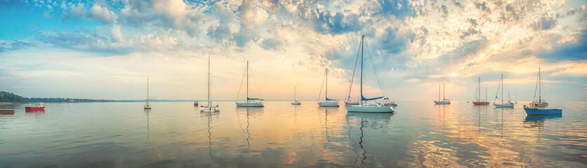 Morning sea - panoramic view Fotobehang