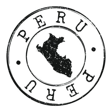 Peru Map Silhouette. Postal Passport Stamp Round Vector Icon.