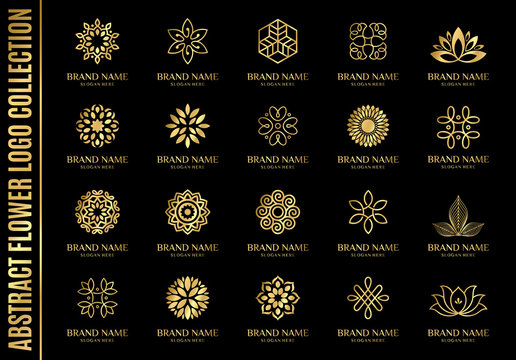 set of best abstract flower logo collections, perfect for company logo or branding.