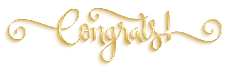 CONGRATS! metallic gold vector brush calligraphy banner with spirals