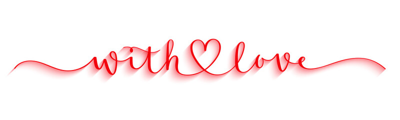 WITH LOVE red vector brush calligraphy banner with heart