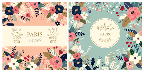 Fototapete - Beautiful collection of floral patterns. Holiday flower patterns for cards, invitations, package design